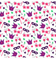 seamless pattern with white silhouettes carnival vector image