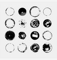 set monochrome abstract grunge round textures vector image vector image