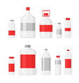 set of plastic bottles for vector image
