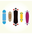 Skateboard and long board shapes isolated vector image