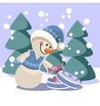 Snowman color 19 vector image vector image