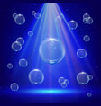 stage illumination with spotlights and bubbles vector image vector image