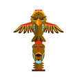 traditional totem pole with tiki mask and eagle vector image vector image