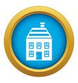 two-storey house with chimney icon blue vector image vector image