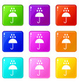 umbrella and rain drops icons 9 set vector image vector image