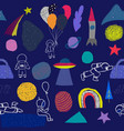 universe rainbow astronaut planet star pattern vector image vector image