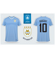 uruguay soccer jersey or football kit mockup vector image