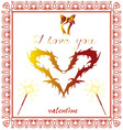 valentine heart yellow I love you red vector image vector image
