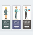 vertical banners set with people characters in vector image