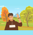young boy is waving hand male character shows vector image vector image