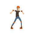 young man roller skating sport and physical vector image