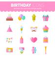 Festive birthday flat icons set vector image
