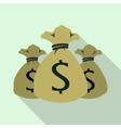 Three money bag or sacks icon flat style vector image