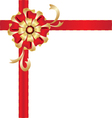 Christmas red and gold gift bow vector image