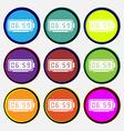 alarm clock icon sign Nine multi colored round vector image vector image