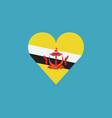 brunei flag icon in a heart shape in flat design vector image vector image
