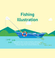 cartoon fishing boat on landscape poster card vector image