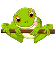 Cartoon frog holding tree vector image vector image