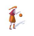 cartoon woman playing basketball athletic girl vector image vector image