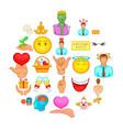 cheerful icons set cartoon style vector image