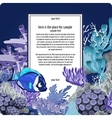 Corals and fish with vertical card for text vector image vector image