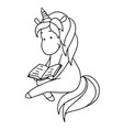 cute little unicorn is reading a book vector image vector image