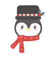 cute penguin head with hat and scarf celebration vector image vector image