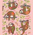 cute sloths with floral ornament in the jungle vector image vector image