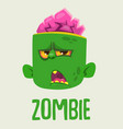cute zombie head cartoon character vector image vector image
