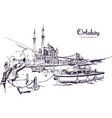 drawing sketch ortakoy mosque vector image