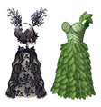 dresses in form of tree and leaves on eco theme vector image vector image