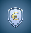 Euro sign on a shield vector image vector image