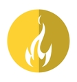 fire flame bright danger icon yellow circle vector image