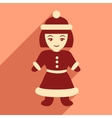 flat icon with long shadow Santa girl vector image vector image