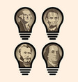 four idea light bulbs that are us presidents vector image