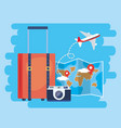 global map with location sign and baggage vector image