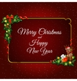 Gold frame decorated with Christmas elements vector image vector image