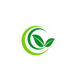 green leaf ecology organic logo vector image vector image