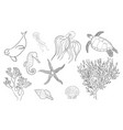 hand drawn lineart sea life set vector image vector image