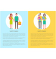 happy family and children relatives walk together vector image