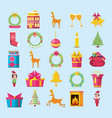 happy merry christmas set icons vector image