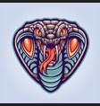 head king cobra animal mascot logo vector image