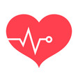 heart pulse flat icon fitness and sport vector image vector image
