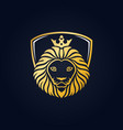 king lion head mascot on blue background vector image