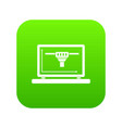 laptop with 3d design icon digital green vector image vector image