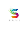 letter s design with rainbow shattered blocks vector image vector image