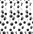 Monochrome pattern footprints various mammals vector image