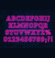 neon pink font bright capital letters with vector image vector image