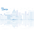 Outline Boise skyline with blue buildings vector image vector image