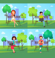 people in park using modern computer technologies vector image vector image